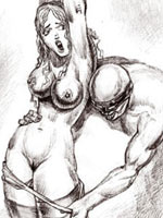 Black and white drawings of dungeon domination