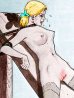 Crazy toons with dirty minded guys restraining and ravishing two young naked beauties on a nasty looking torture rack