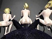 Three adorable blonde dolls give in to a horny evil alien