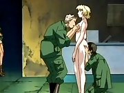 Furious animated scenes with poor captive hentai girls drilled by soldiers